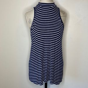 Maurices L Blue & White Striped High Neck Tank Top